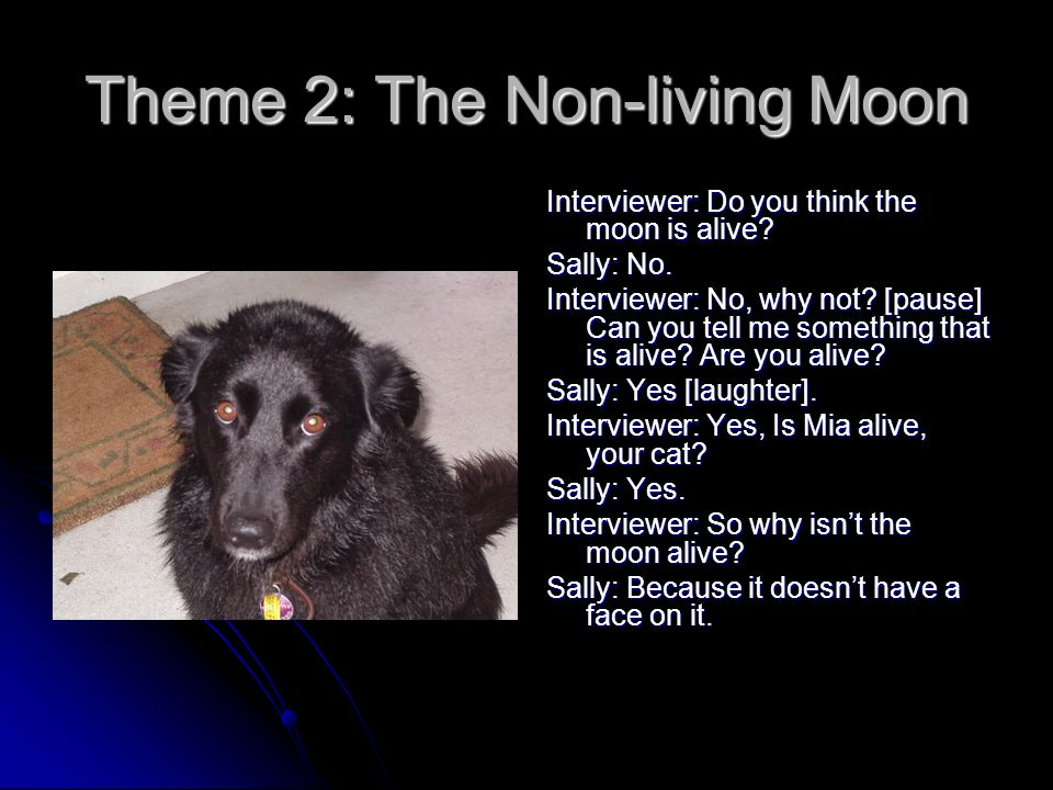 Theme 2: The Non-living Moon Interviewer: Do you think the moon is alive.