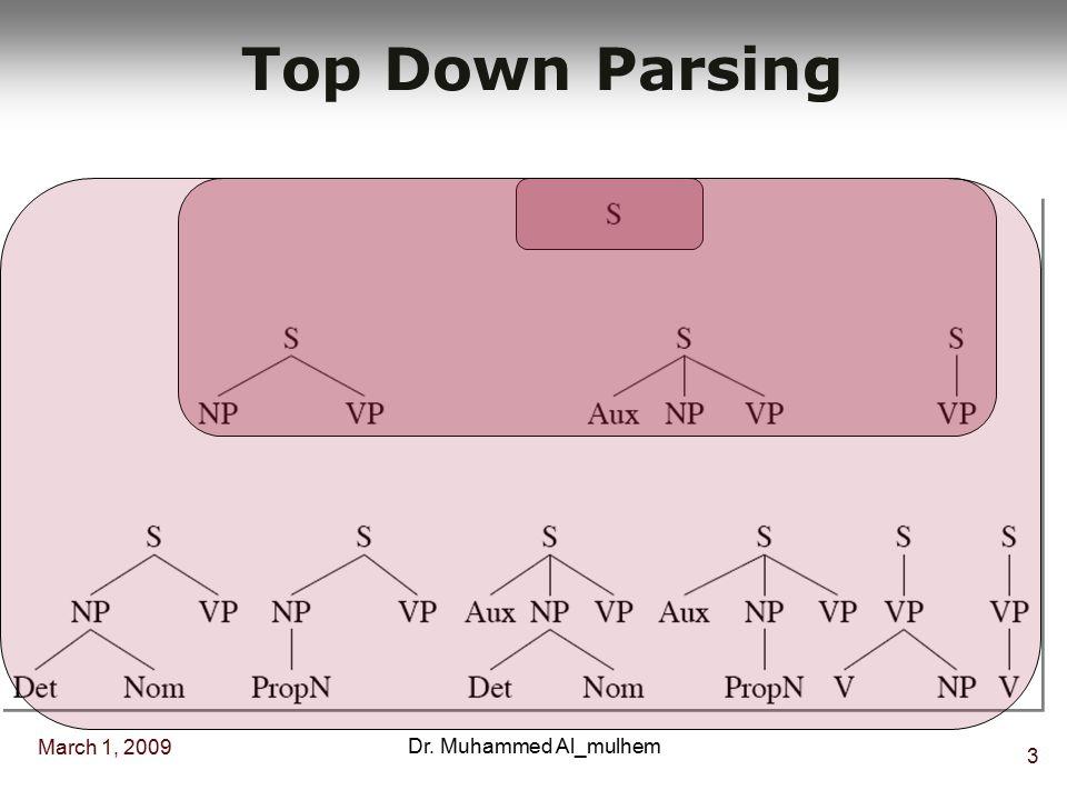 March 1, 2009 3 Dr. Muhammed Al_mulhem Top Down Parsing