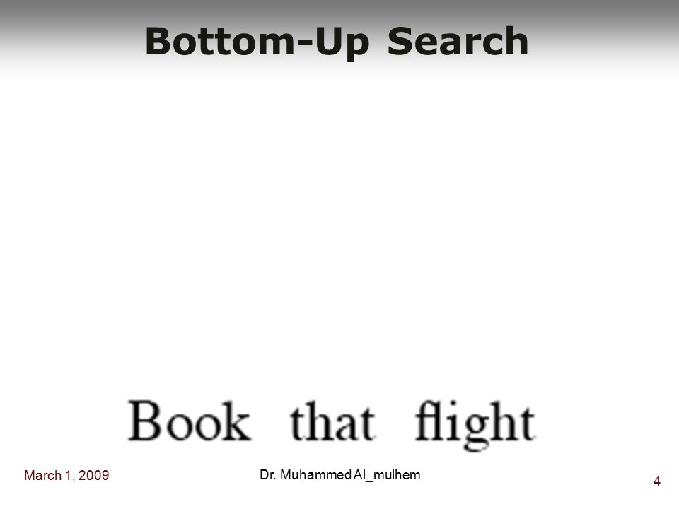March 1, 2009 4 Dr. Muhammed Al_mulhem Bottom-Up Search
