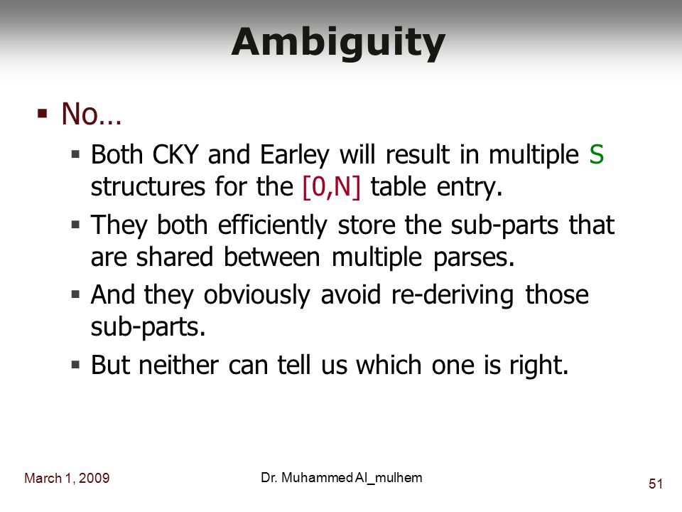 March 1, 2009 50 Dr. Muhammed Al_mulhem Back to Ambiguity  Did we solve it