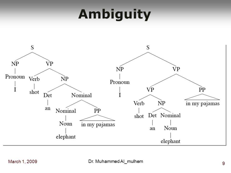March 1, 2009 9 Dr. Muhammed Al_mulhem Ambiguity