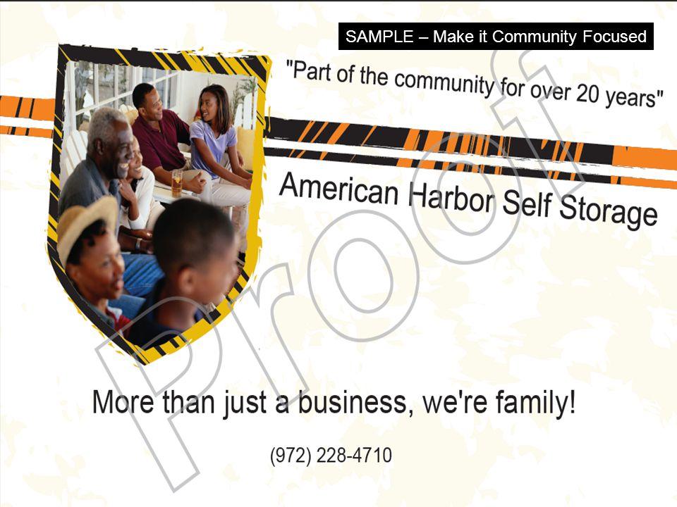 (877) 839-5142 SAMPLE – Make it Community Focused