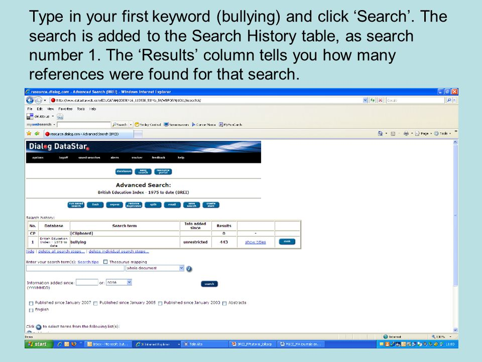 Type in your first keyword (bullying) and click 'Search'.