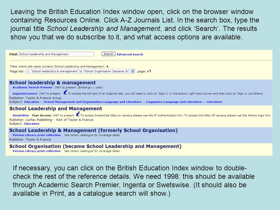 Leaving the British Education Index window open, click on the browser window containing Resources Online.