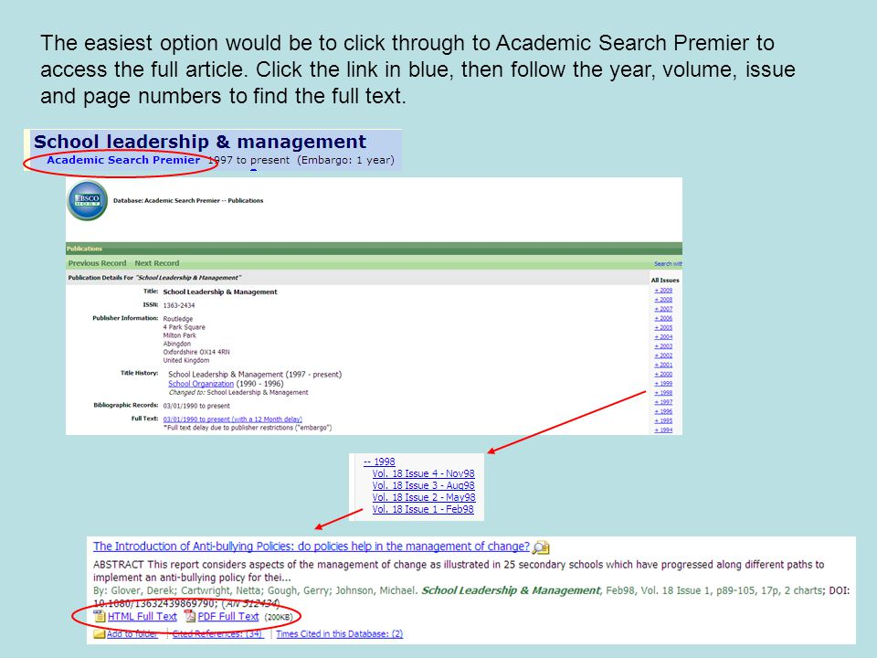 The easiest option would be to click through to Academic Search Premier to access the full article.