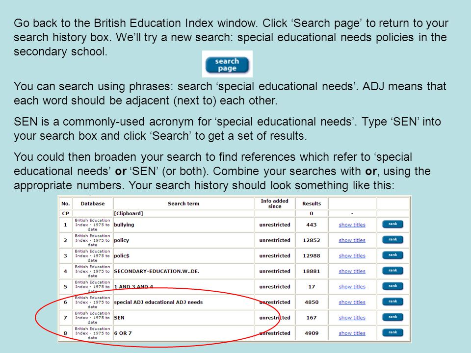 Go back to the British Education Index window.