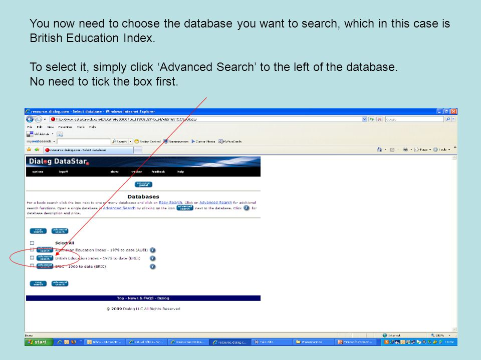 You now need to choose the database you want to search, which in this case is British Education Index.