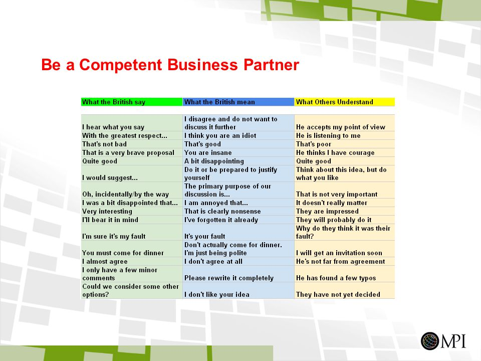 Be a Competent Business Partner