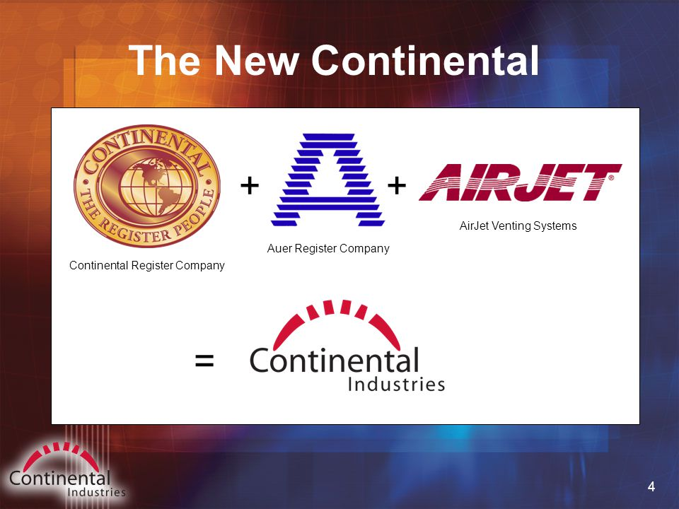 4 The New Continental Continental Register Company Auer Register Company AirJet Venting Systems ++ =