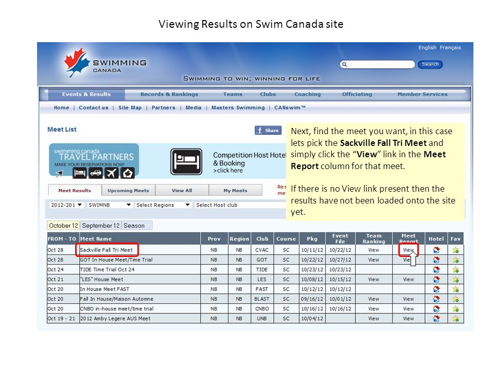 Viewing Results on Swim Canada site Now we are at the results page for the meet.
