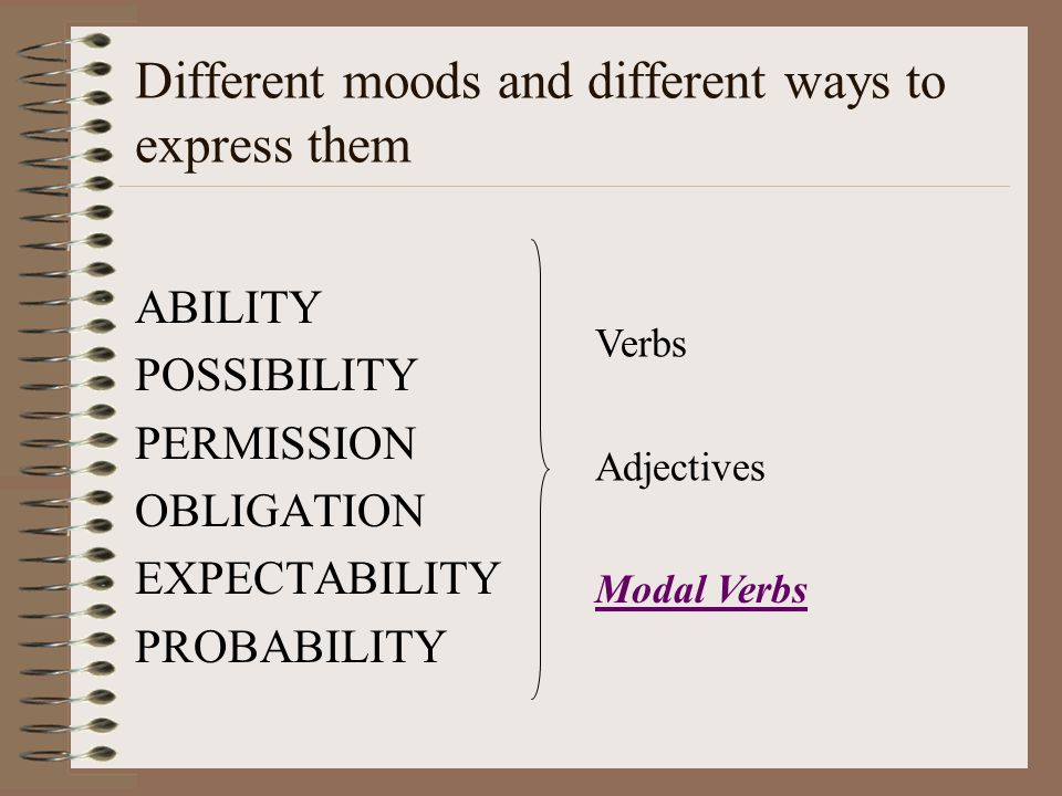 Different moods and different ways to express them ABILITY POSSIBILITY PERMISSION OBLIGATION EXPECTABILITY PROBABILITY Adjectives Verbs Modal Verbs