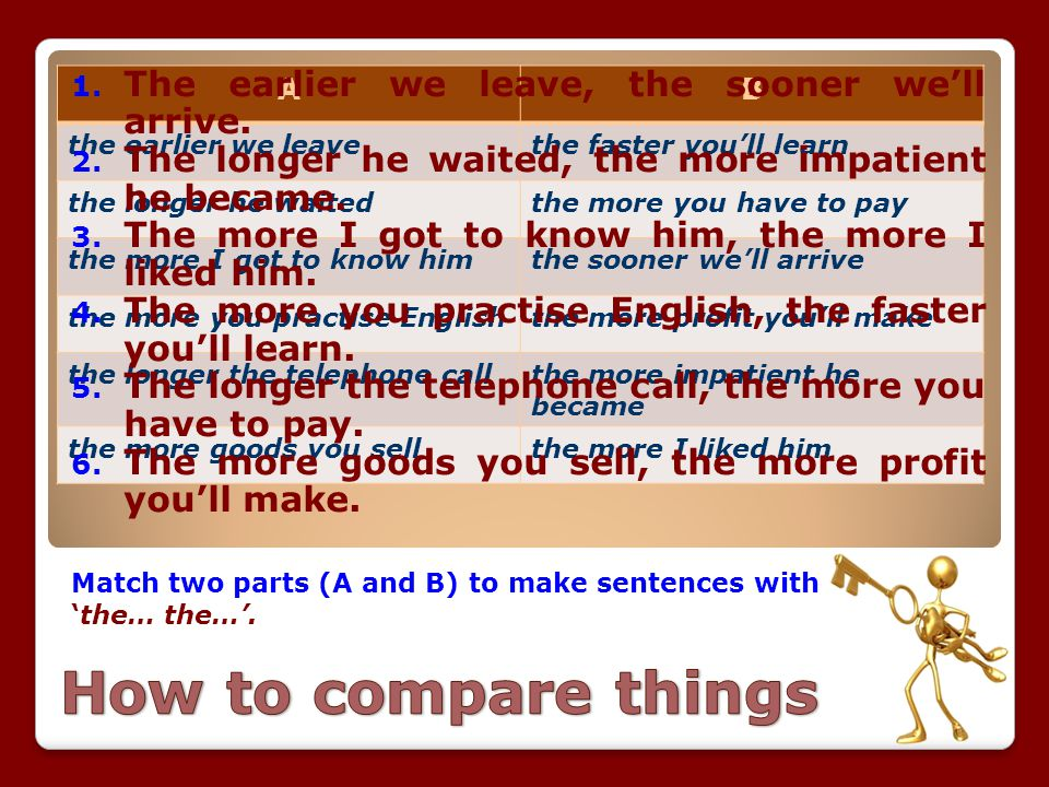 Match two parts (A and B) to make sentences with 'the… the…'. AB the earlier we leavethe faster you'll learn the longer he waitedthe more you have to