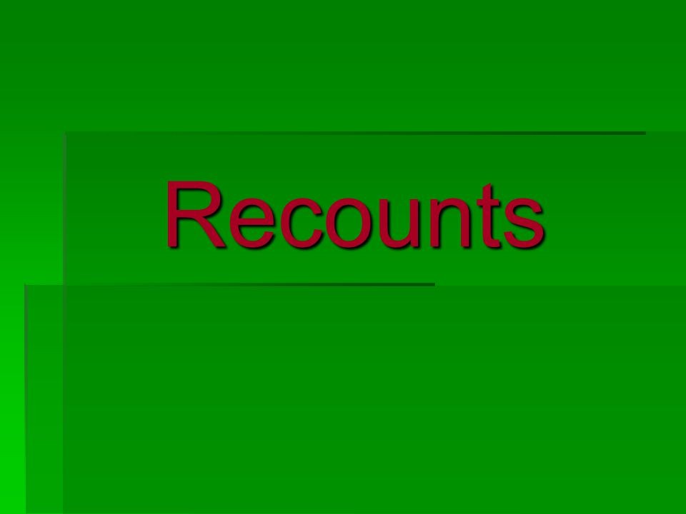 We are learning to write recounts  A recount is an account of a personal experience  Examples: Letters, autobiographies, biographies, diaries, newspaper reports, eyewitness report  Recounts tell what happens  Three types Personal / literary ImaginaryFactual