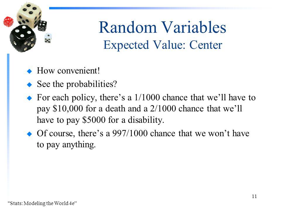 Random Variables Expected Value: Center u How convenient.