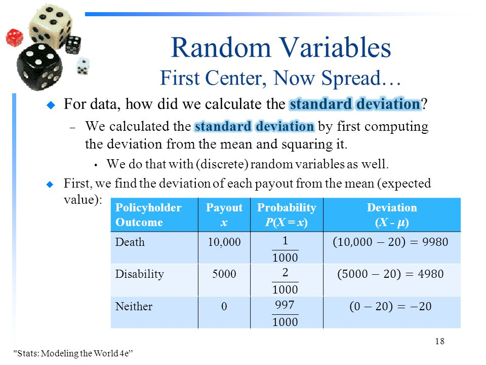 Random Variables First Center, Now Spread… Stats: Modeling the World 4e 18 Policyholder Outcome Payout x Probability P(X = x) Death10,000 Disability5000 Neither0