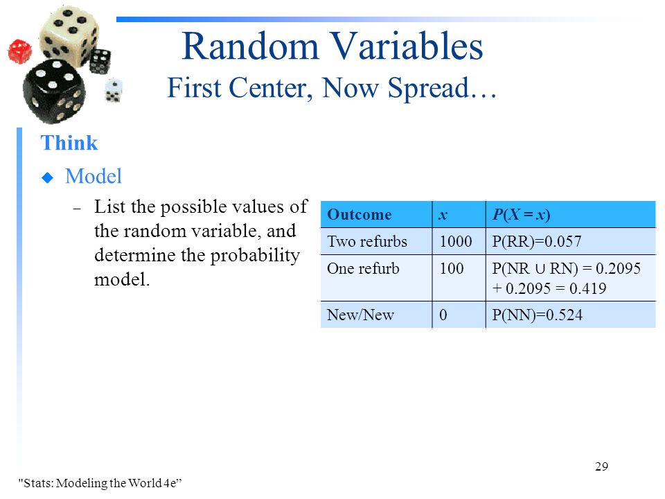 Random Variables First Center, Now Spread… Think u Model – List the possible values of the random variable, and determine the probability model. 29 Ou