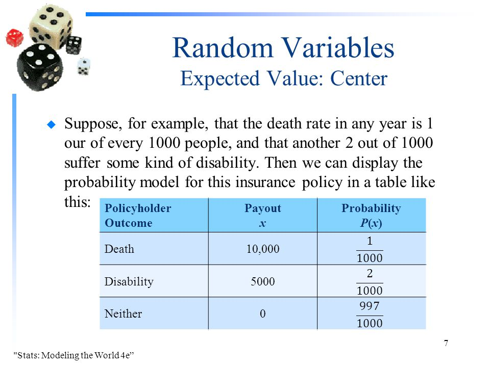 Random Variables Expected Value: Center u Suppose, for example, that the death rate in any year is 1 our of every 1000 people, and that another 2 out of 1000 suffer some kind of disability.