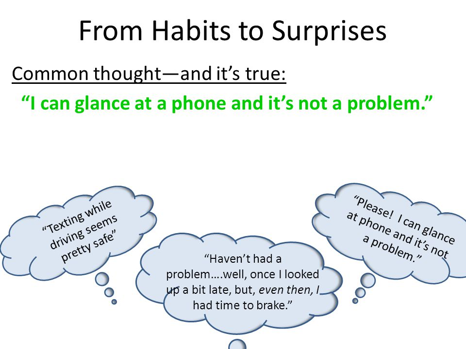 "From Habits to Surprises ""Texting while driving seems pretty safe"" ""Please! I can glance at phone and it's not a problem."" ""Haven't had a problem….wel"