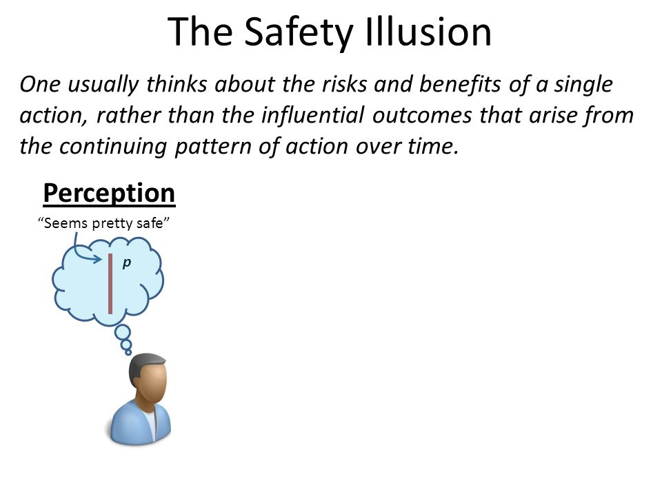 The Safety Illusion One usually thinks about the risks and benefits of a single action, rather than the influential outcomes that arise from the continuing pattern of action over time.