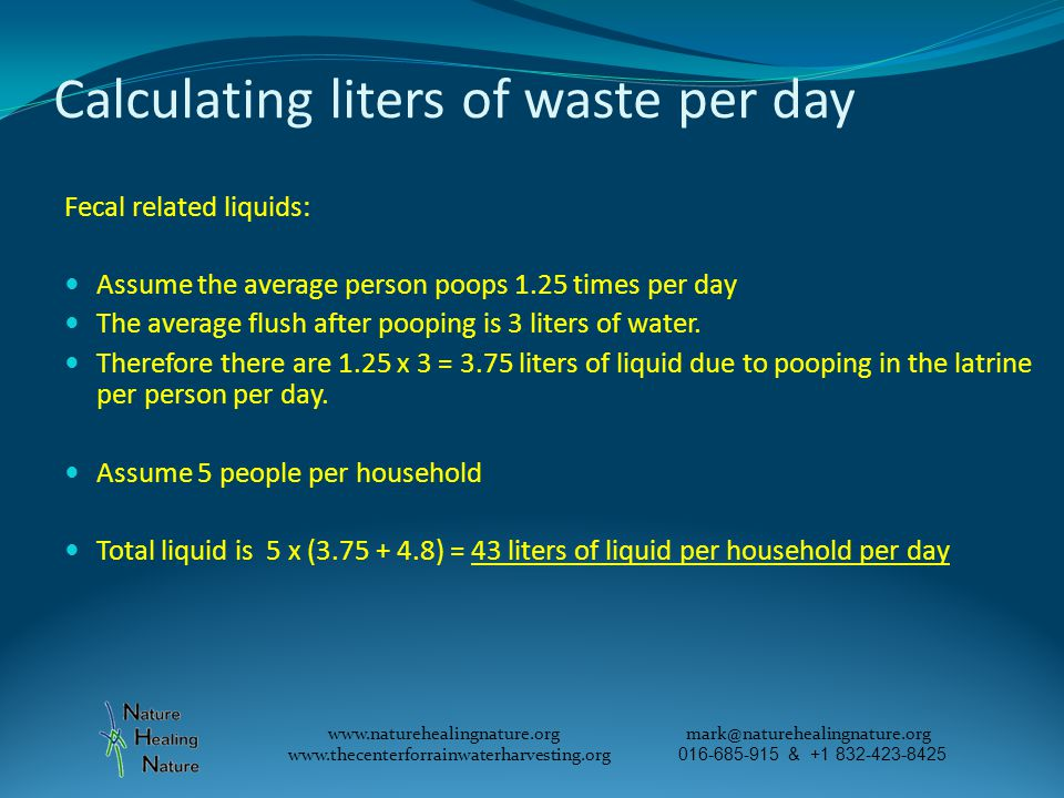 Calculating liters of waste per day Fecal related liquids: Assume the average person poops 1.25 times per day The average flush after pooping is 3 liters of water.