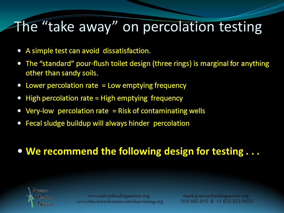 The take away on percolation testing A simple test can avoid dissatisfaction.