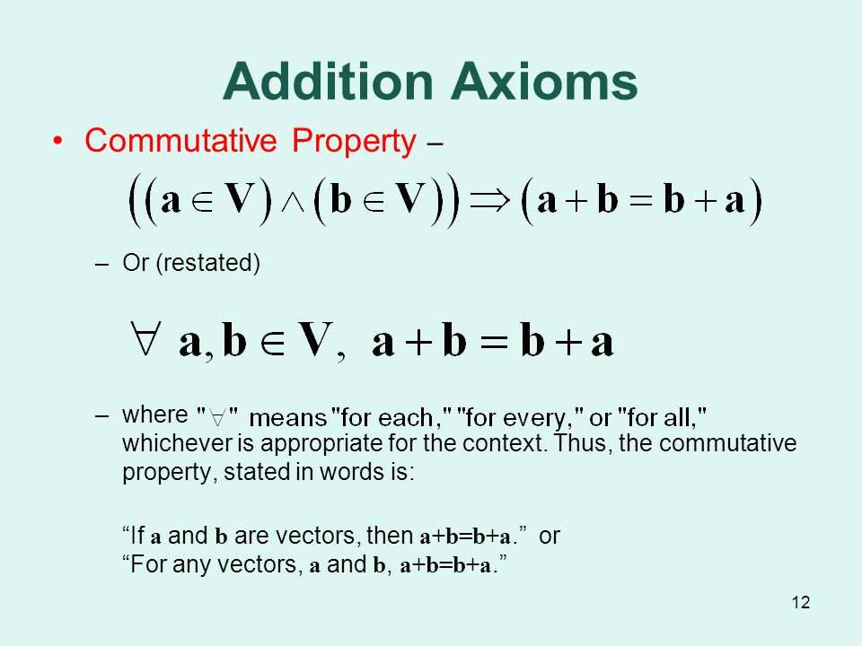 12 Addition Axioms Commutative Property – –Or (restated) –where whichever is appropriate for the context.