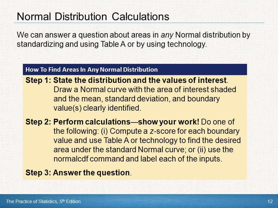The Practice of Statistics, 5 th Edition12 Normal Distribution Calculations We can answer a question about areas in any Normal distribution by standar