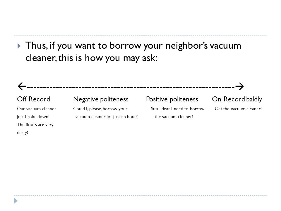  Thus, if you want to borrow your neighbor's vacuum cleaner, this is how you may ask:  -------------------------------------------------------------