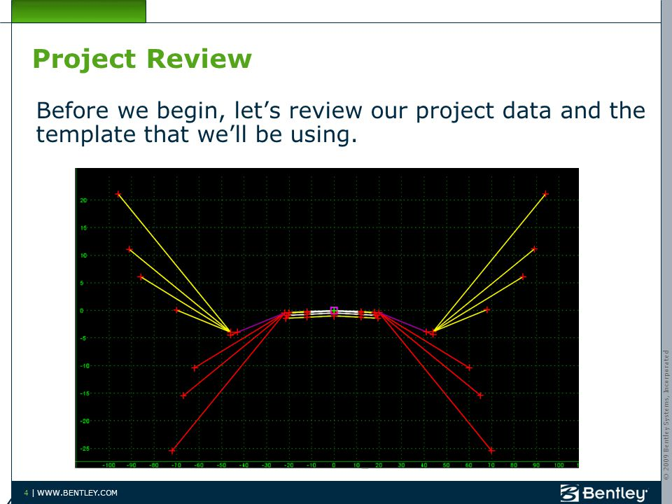 © 2009 Bentley Systems, Incorporated 4 | WWW.BENTLEY.COM Project Review Before we begin, let's review our project data and the template that we'll be using.