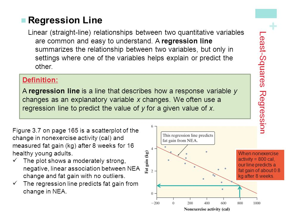 + Least-Squares Regression Regression LineLinear (straight-line) relationships between two quantitative variables are common and easy to understand. A