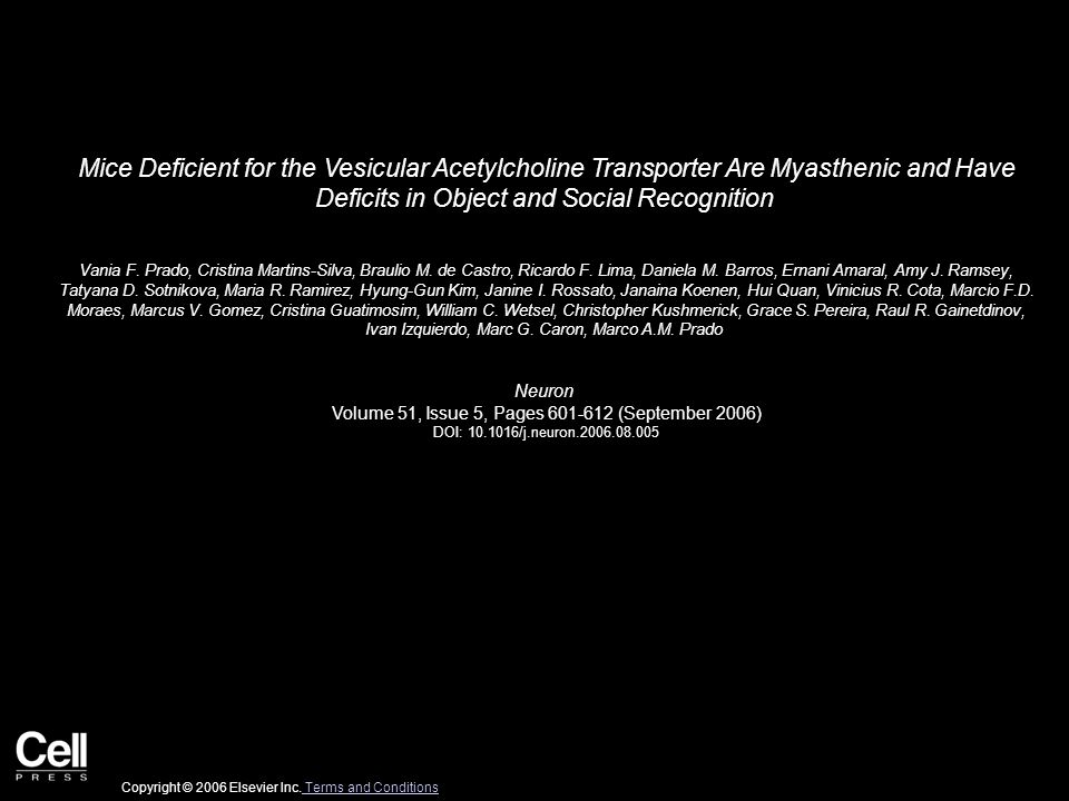 Mice Deficient for the Vesicular Acetylcholine Transporter Are Myasthenic and Have Deficits in Object and Social Recognition Vania F.