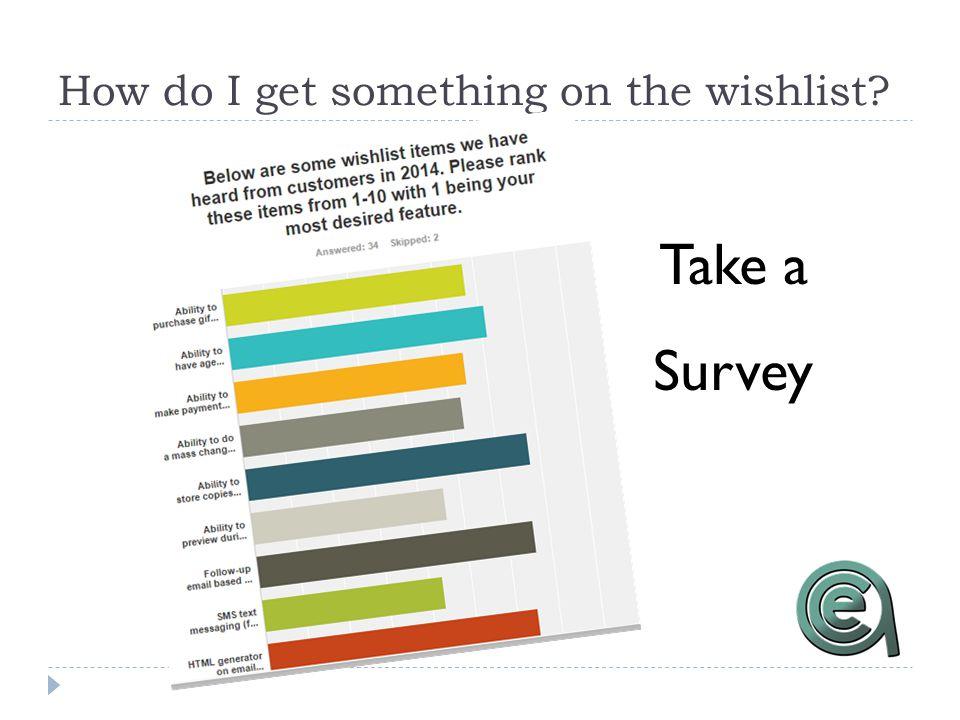 How do I get something on the wishlist? Take a Survey