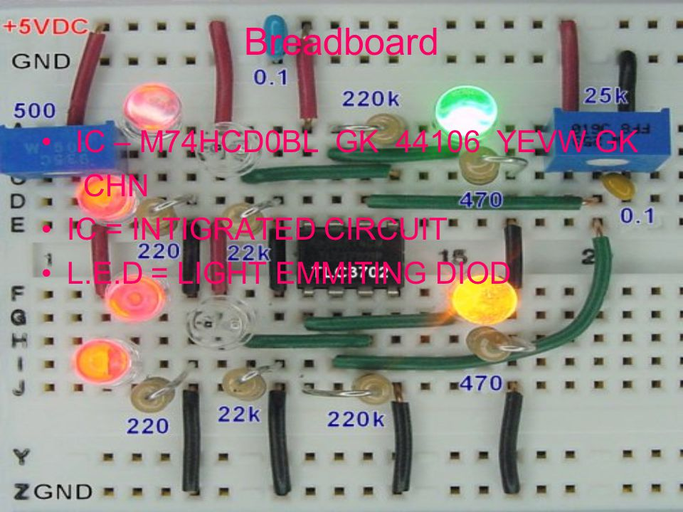Breadboard IC – M74HCD0BL GK 44106 YEVW GK CHN IC = INTIGRATED CIRCUIT L.E.D = LIGHT EMMITING DIOD