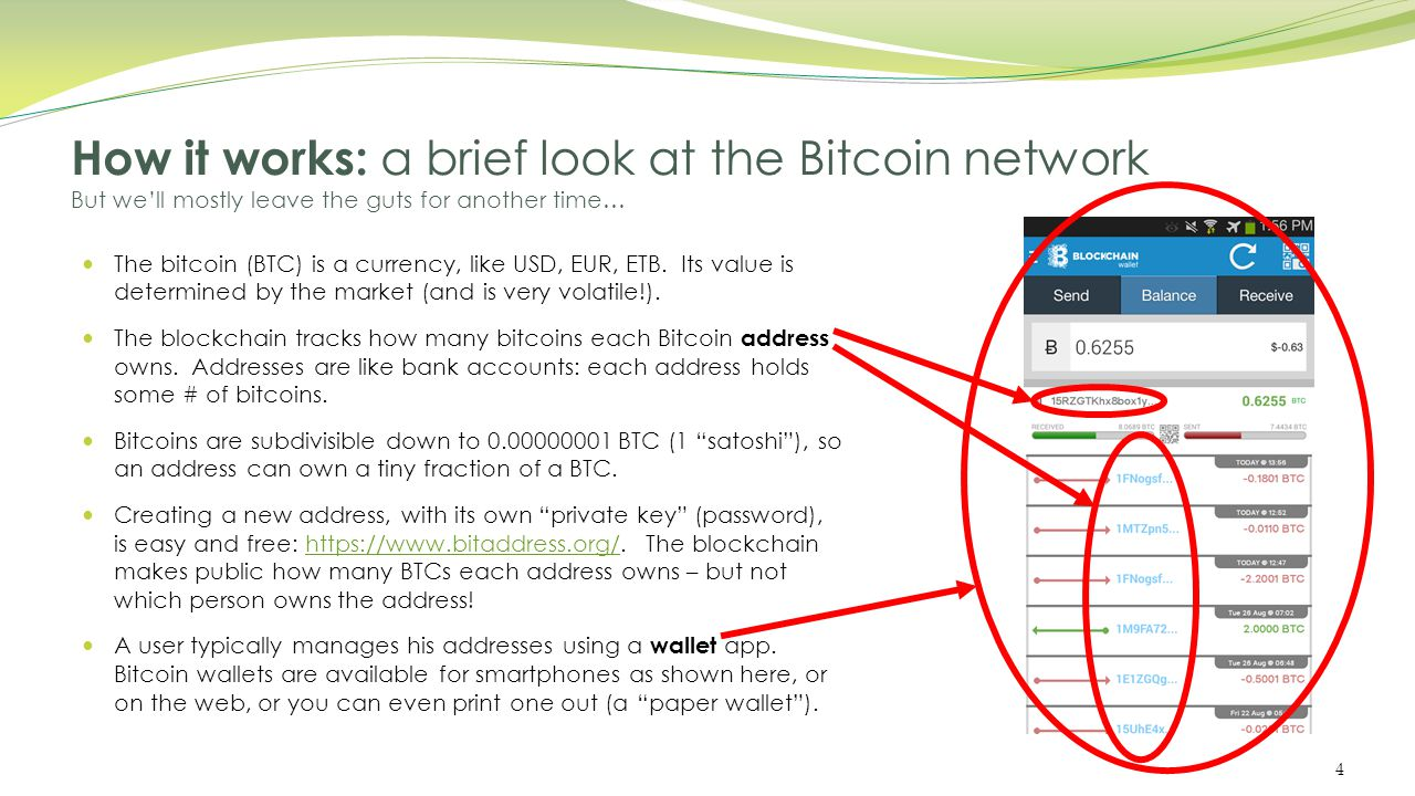 How it works: a brief look at the Bitcoin network But we'll mostly leave the guts for another time… When you spend some BTC, the transaction goes out on the Internet to the Bitcoin network for confirmation.