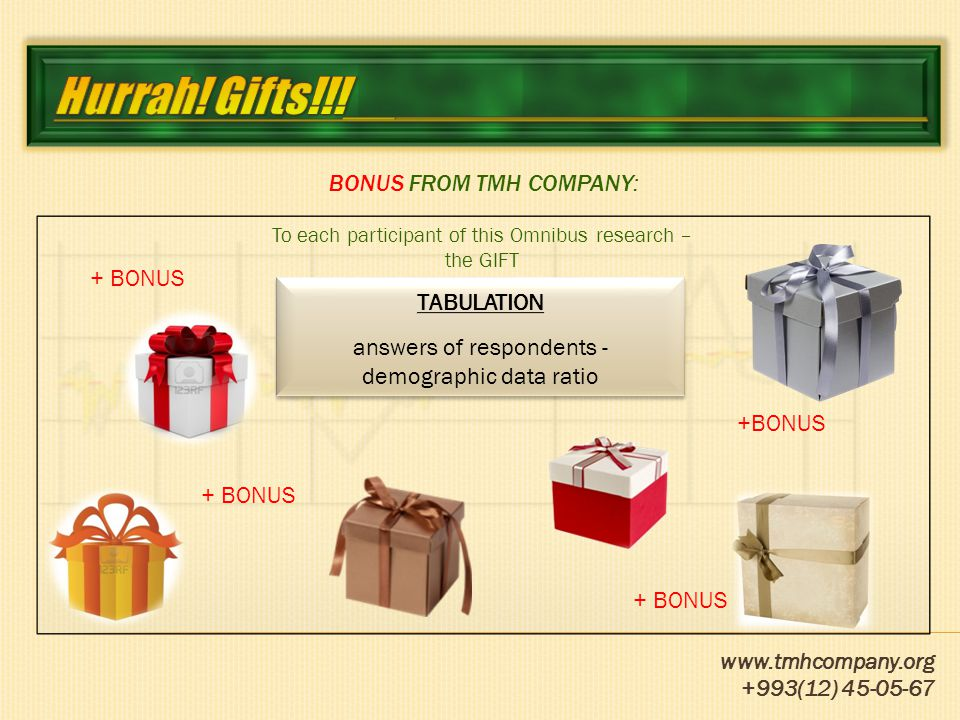 www.tmhcompany.org +993(12) 45-05-67 TERM OF APPLICATION: Demands acceptance on participation in the Omnibus research - Turkmenistan On TMH Company site www.tmhcompany.orgwww.tmhcompany.org Contact person: Olesya Bolbochanu (+993 12) 45 05 67 info@tmhcompany.org olesya@tmhcompany.org Charging performance of research works for TMH Company you'll receive exact and a trustworthy information about volumes, structure of Turkmenistan market, consumers and their preferences, perception of a brand and a product, efficiency of advertising activity, competitors, possibilities of perspective development, product improvement, and also large-scale opportunities in testing as advertising materials, and production.