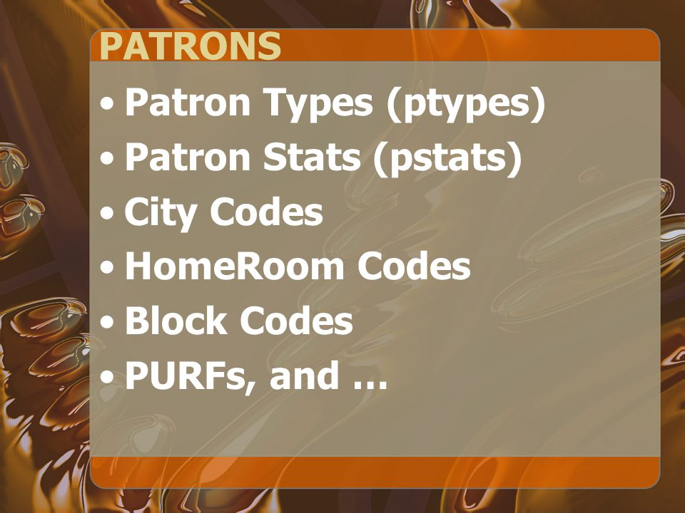 Patron Types (ptypes) Patron Stats (pstats) City Codes HomeRoom Codes Block Codes PURFs, and …