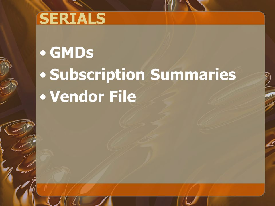 GMDs Subscription Summaries Vendor File