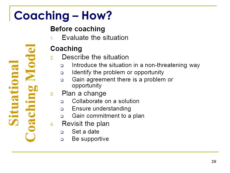 Before coaching 1. Evaluate the situation Coaching 2.