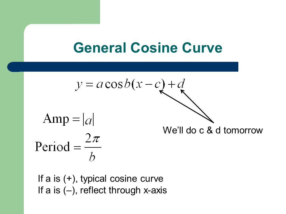 General Cosine Curve If a is (+), typical cosine curve If a is (–), reflect through x-axis We'll do c & d tomorrow
