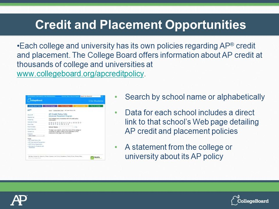 Each college and university has its own policies regarding AP ® credit and placement. The College Board offers information about AP credit at thousand