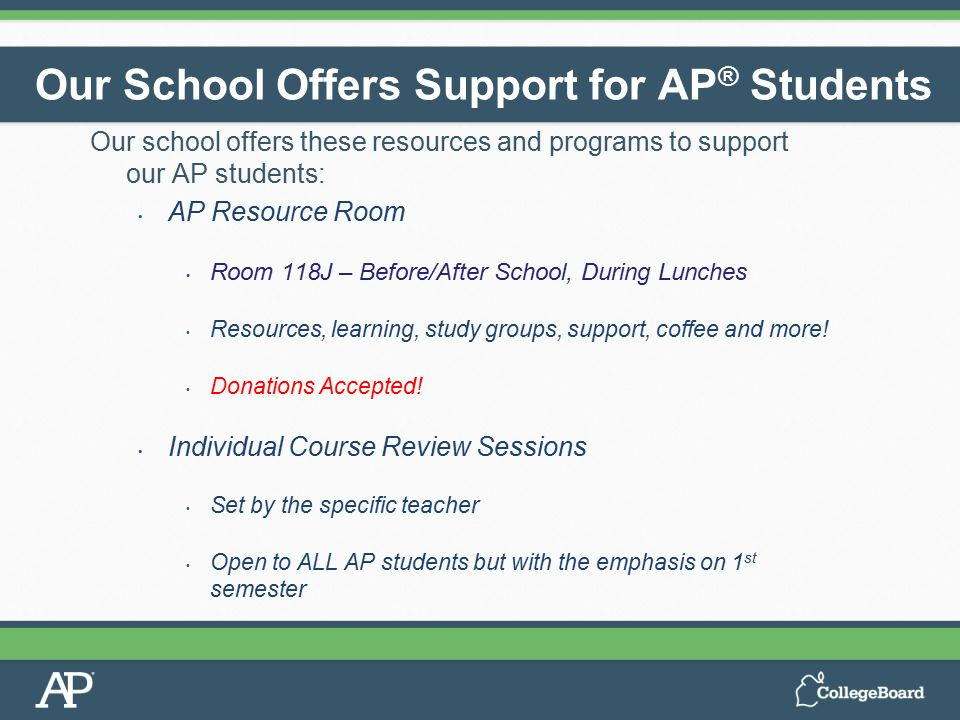 Our school offers these resources and programs to support our AP students: AP Resource Room Room 118J – Before/After School, During Lunches Resources,