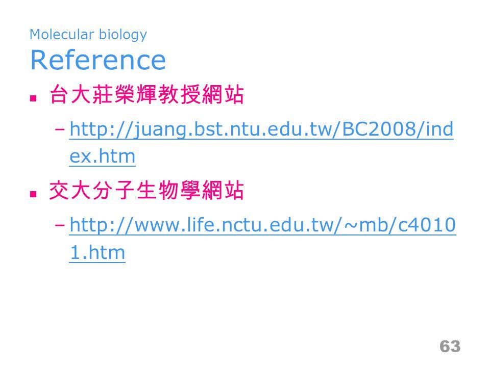 Molecular biology Reference 台大莊榮輝教授網站 –http://juang.bst.ntu.edu.tw/BC2008/ind ex.htmhttp://juang.bst.ntu.edu.tw/BC2008/ind ex.htm 交大分子生物學網站 –http://ww