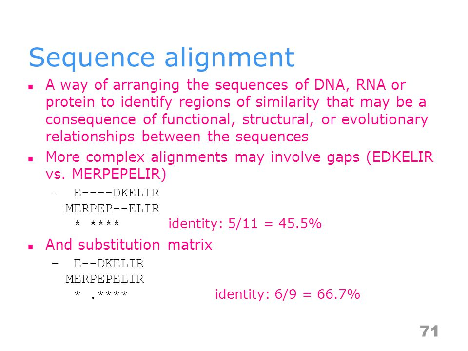 Sequence alignment A way of arranging the sequences of DNA, RNA or protein to identify regions of similarity that may be a consequence of functional, structural, or evolutionary relationships between the sequences More complex alignments may involve gaps (EDKELIR vs.