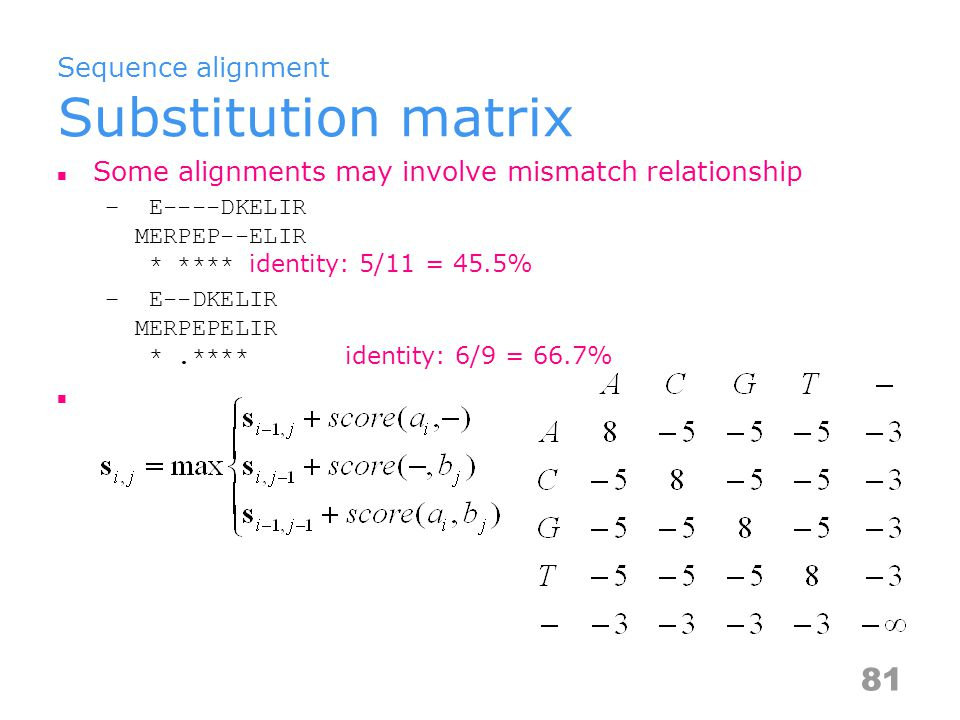 Sequence alignment Substitution matrix Some alignments may involve mismatch relationship – E----DKELIR MERPEP--ELIR * **** identity: 5/11 = 45.5% – E--DKELIR MERPEPELIR *.**** identity: 6/9 = 66.7% 81