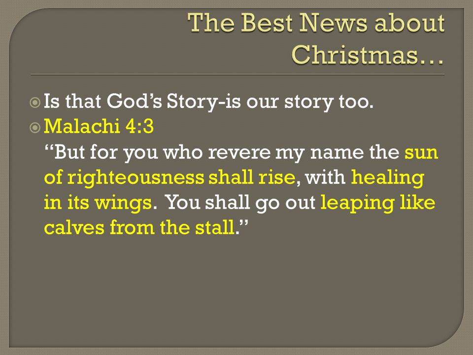  Is that God's Story-is our story too.