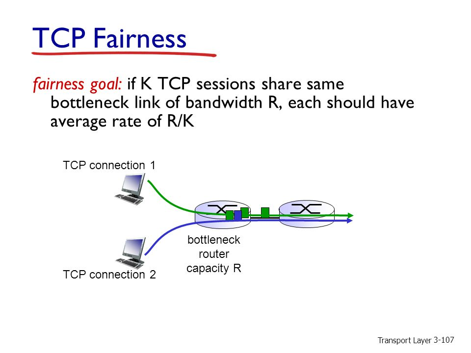 Transport Layer fairness goal: if K TCP sessions share same bottleneck link of bandwidth R, each should have average rate of R/K TCP connection 1 bottleneck router capacity R TCP Fairness TCP connection 2