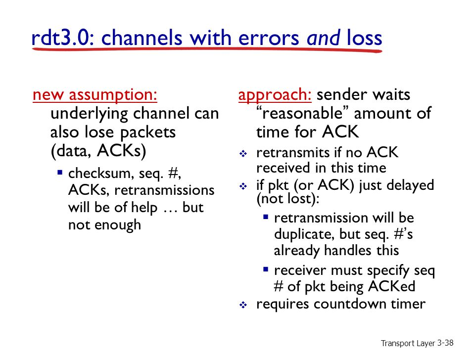 Transport Layer 3-38 rdt3.0: channels with errors and loss new assumption: underlying channel can also lose packets (data, ACKs)  checksum, seq.