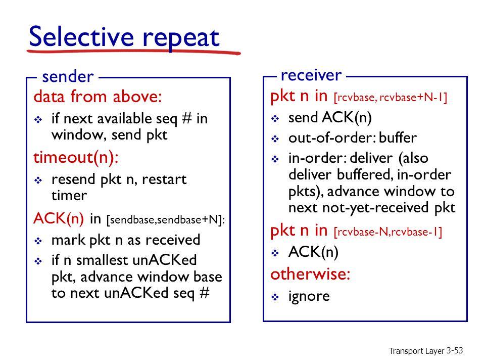 Transport Layer 3-53 Selective repeat data from above:  if next available seq # in window, send pkt timeout(n):  resend pkt n, restart timer ACK(n) in [sendbase,sendbase+N]:  mark pkt n as received  if n smallest unACKed pkt, advance window base to next unACKed seq # sender pkt n in [rcvbase, rcvbase+N-1]  send ACK(n)  out-of-order: buffer  in-order: deliver (also deliver buffered, in-order pkts), advance window to next not-yet-received pkt pkt n in [rcvbase-N,rcvbase-1]  ACK(n) otherwise:  ignore receiver