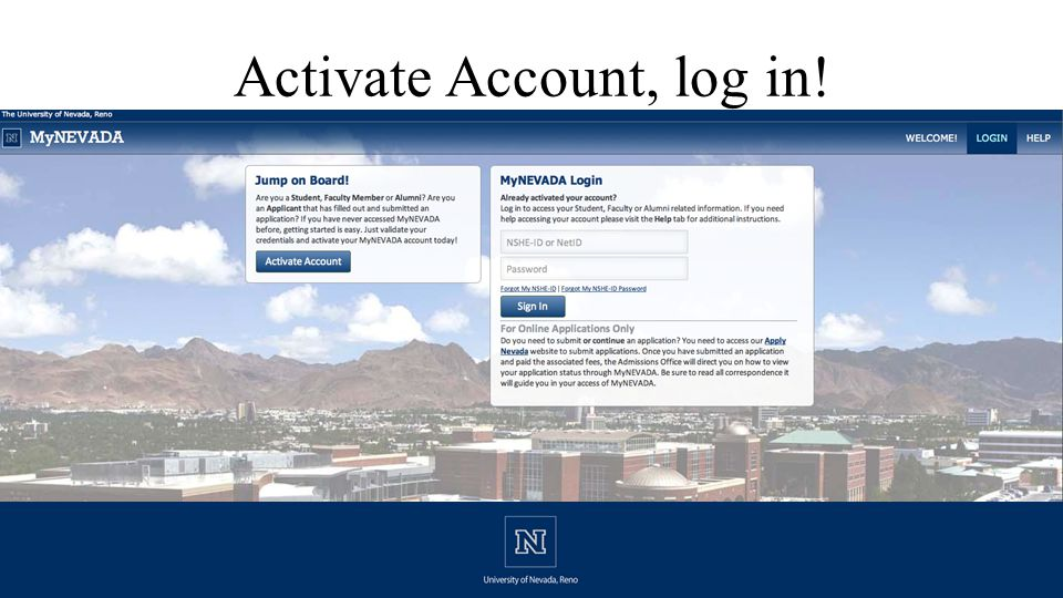 Activate Account, log in!
