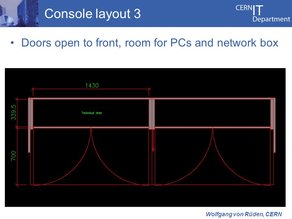 Console layout 3 Doors open to front, room for PCs and network box Wolfgang von Rüden, CERN